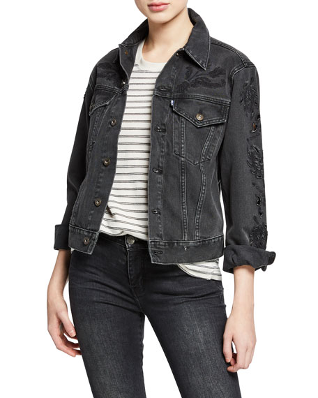 Levi's Made & Crafted Embroidered Button-Front Cutout Boyfriend Trucker Jacket