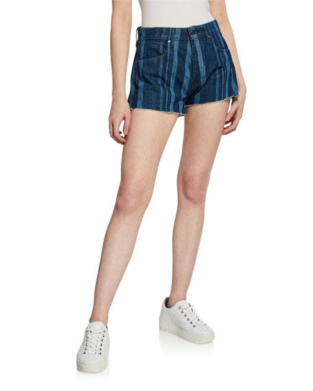 Levi's Made & Crafted High-Rise Striped Denim Cutoff Shorts