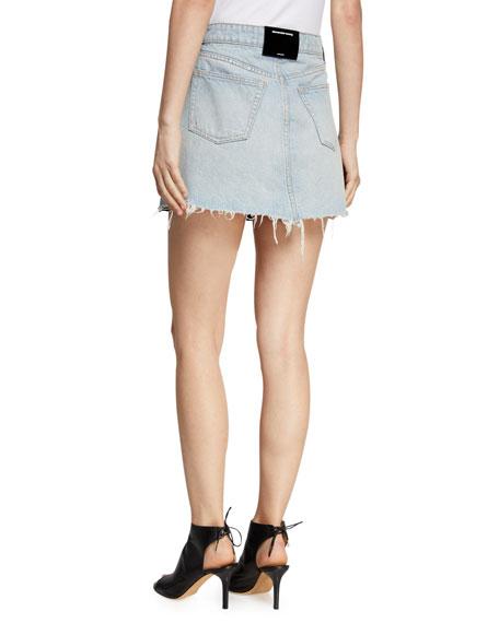 alexanderwang.t Bite Leather/Denim Frayed Mini Skirt