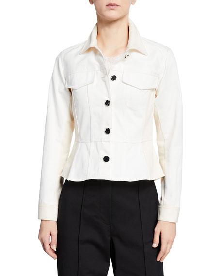 3.1 Phillip Lim Button-Front Denim Peplum Jacket