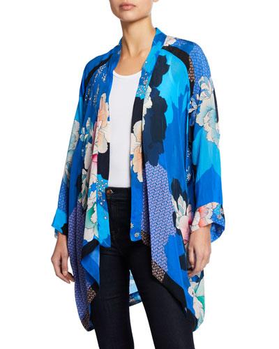 Plus Size Dolce Long-Sleeve Floral-Print Georgette Kimono