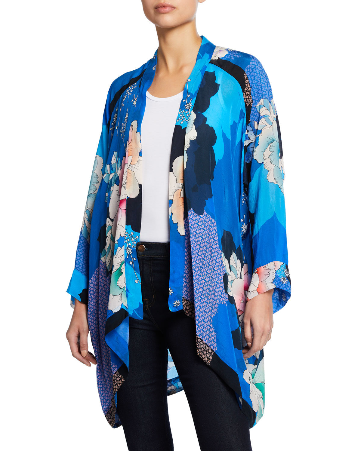 83ad73bcfa2b0 Johnny Was Plus Size Dolce Long-Sleeve Floral-Print Georgette Kimono ...