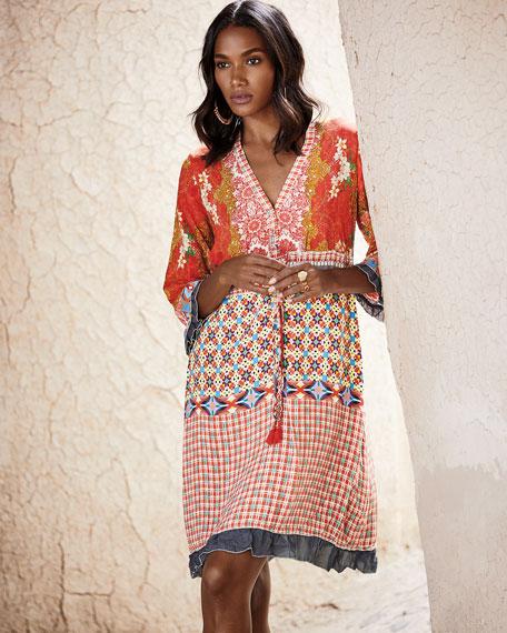 Johnny Was Petite Rayne V-Neck 3/4-Sleeve Printed Crepe Dress w/ Drawstring-Waist