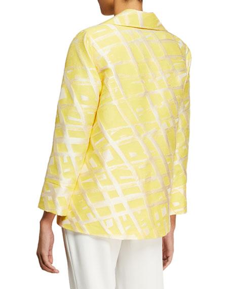 Caroline Rose Citrus Abstract-Print Jacquard Jacket
