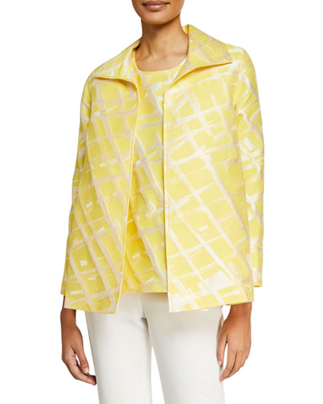 Caroline Rose Plus Size Citrus Abstract-Print Jacquard Jacket