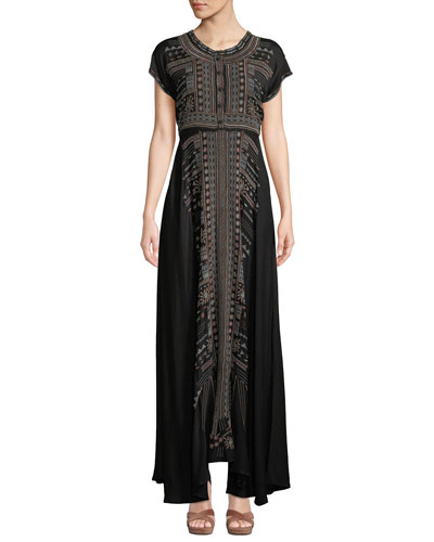 Effy Short-Sleeve Ikat-Embroidered Stretch Challis Maxi Dress  Petite
