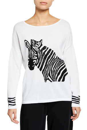Joan Vass Petite Boat-Neck Sequined Zebra Intarsia Sweater w/ Cuff Detail