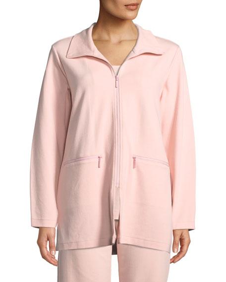 Joan Vass Mock-Neck Long-Sleeve Zip-Front Stretch Interlock Jacket w/ Zip Pockets