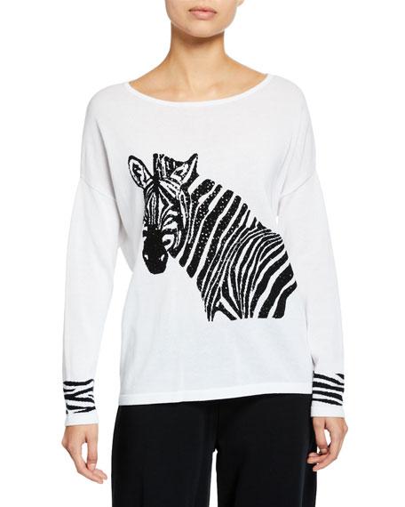 Joan Vass Plus Size Boat-Neck Sequined Zebra Intarsia Sweater w/ Cuff Detail