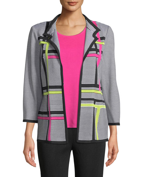Misook Striped 3/4-Sleeve Hook-Front Graphic Knit Jacket