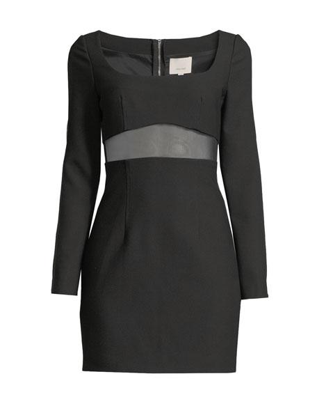 cinq a sept Celia Mesh-Panel Long-Sleeve Cocktail Dress