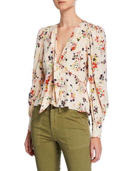 Veronica Beard Payton Floral Tie-Front Silk Blouse