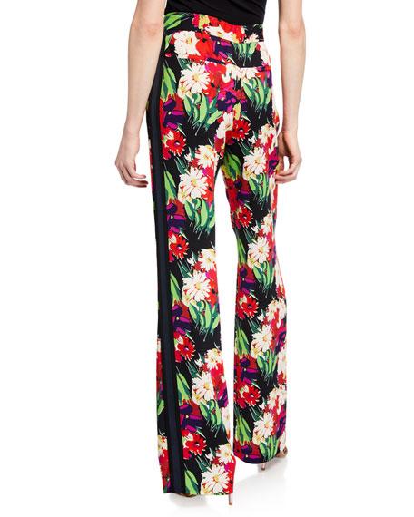 Veronica Beard Grigore Floral High-Rise Tuxedo Pants