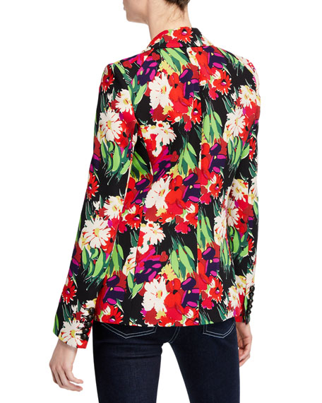 Veronica Beard Miller Floral Double-Breasted Dickey Jacket