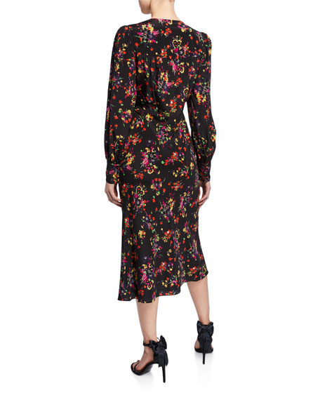 Image 2 of 2: Veronica Beard Amber Long-Sleeve Floral Tie-Front Midi Dress