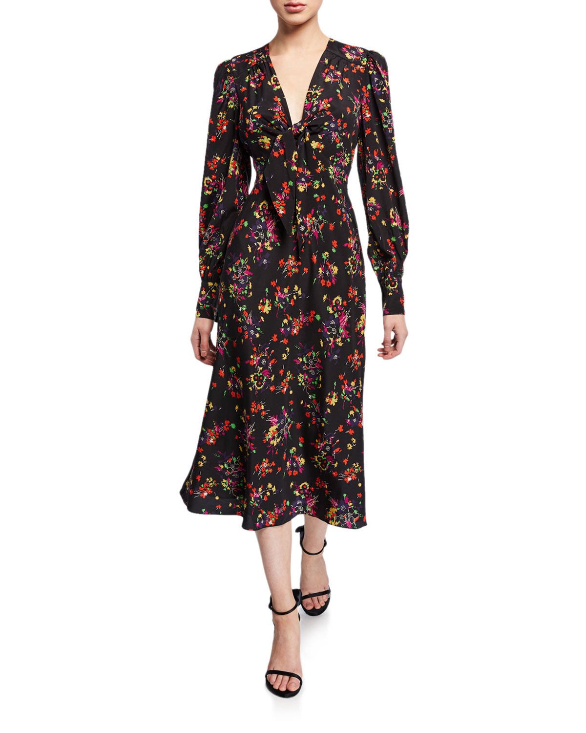 Veronica Beard Amber Long-Sleeve Floral Tie-Front Midi Dress