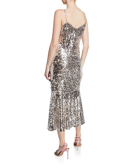 Image 2 of 2: Veronica Beard Mykola Sequined Fit-and-Flare Midi Dress