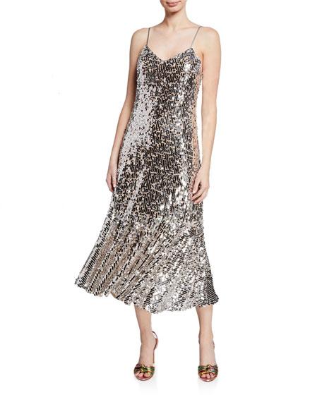 Veronica Beard Mykola Sequined Fit-and-Flare Midi Dress