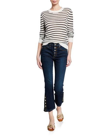 Veronica Beard Carolyn Cropped Boot-Cut Jeans with Snap Hem