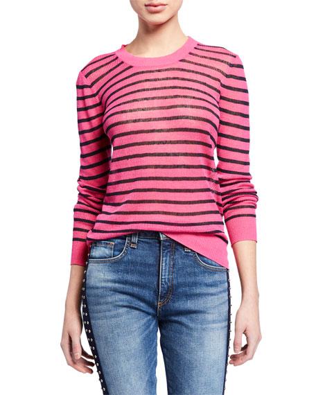 Veronica Beard Dean Striped Linen Crewneck Sweater