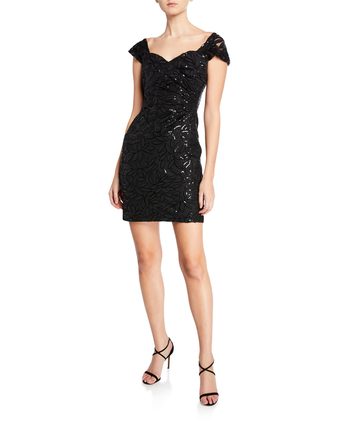 Milly Tina Sweetheart Cap-Sleeve Embroidered Black Sequin Dress