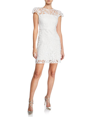 6a0e23d8907 Milly Nickie Embroidered Tulle Cap-Sleeve Mini Cocktail Dress