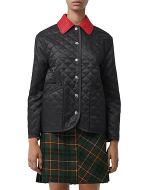 21542eb5b88 Burberry Button-Front Diamond Quilted Barn Jacket with Contrast Collar