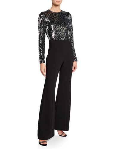 Larzaro Zodiac Sequin Long-Sleeve High-Waist Flared-Leg Jumpsuit