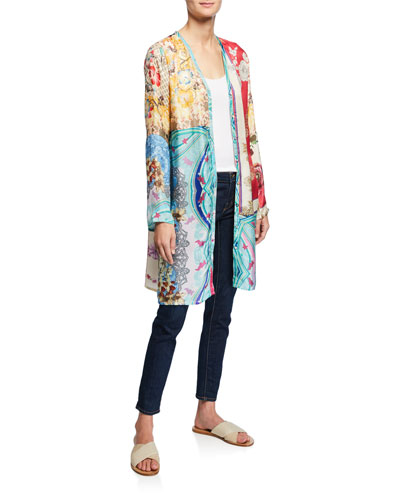 Isabel Mix-Print Button-Front Long-Sleeve Silk Cardigan  Petite