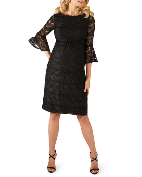 Tiffany Rose Maternity Jane Fluted-Sleeve Lace Cocktail Dress