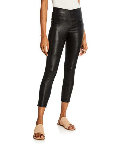 Vince Lamb Leather Cropped Leggings