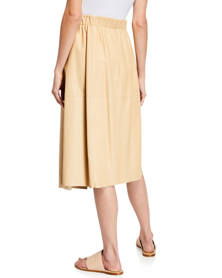 Vince Pull-On Leather A-Line Skirt