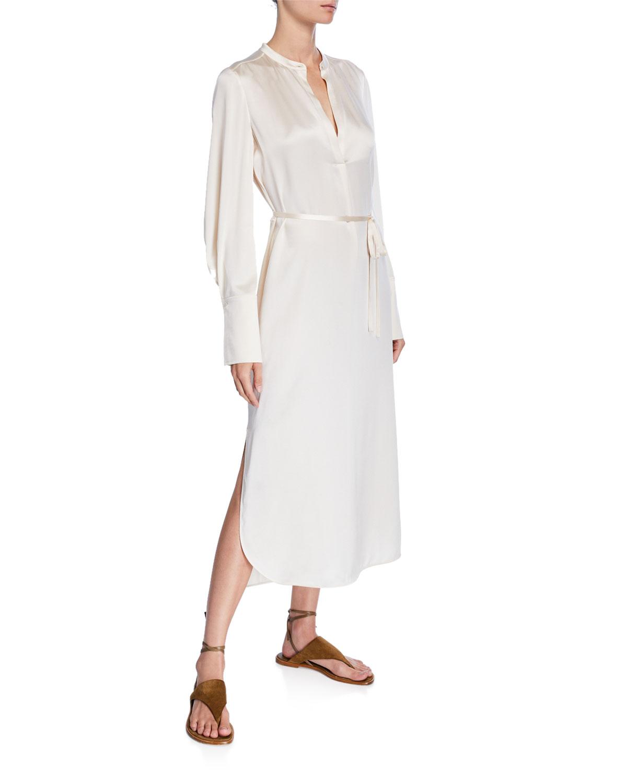 413799da7934 Vince Band-Collar Silk Midi Shirt Dress | Neiman Marcus