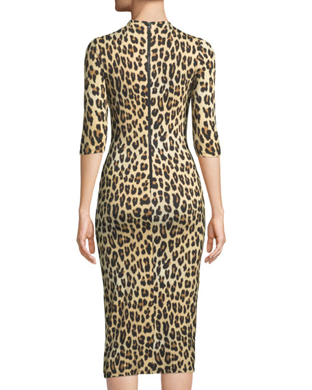 Alice And Olivia Delora Fitted Leopard Mock-Neck Dress  6c27c3a3d