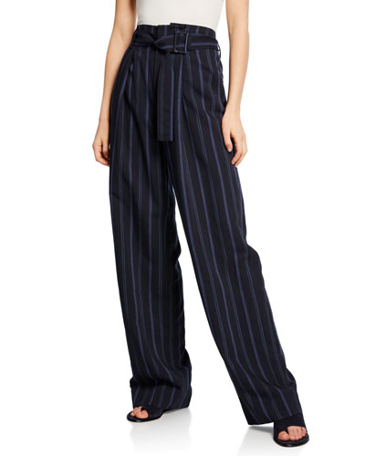 Dobby Stripe Belted Wide-Leg Pants