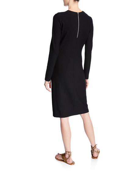 Vince Long-Sleeve Crewneck Pencil Dress