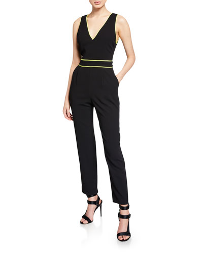 Jeri V-Neck Straight-Leg Jumpsuit