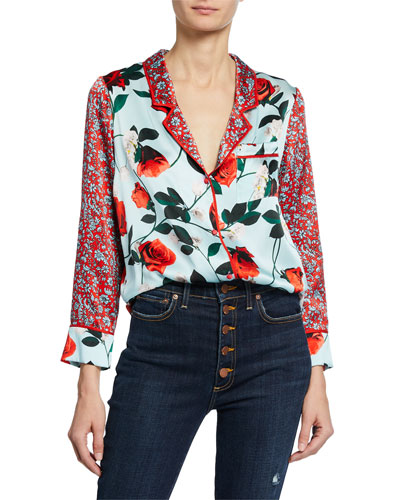 Keir Floral-Print Button-Front Long-Sleeve Pajama Top