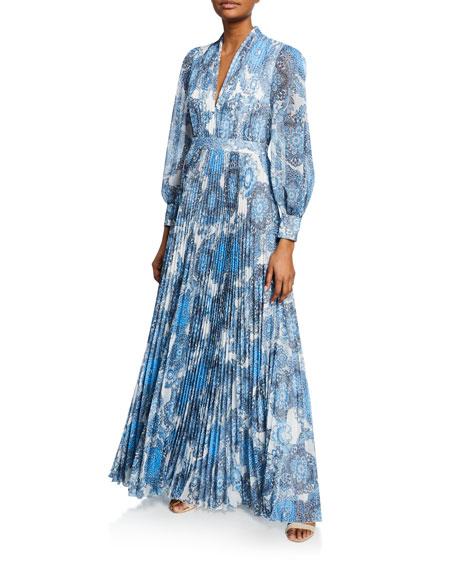 Alice + Olivia Cheney Slit-Sleeve Pleated Maxi Dress