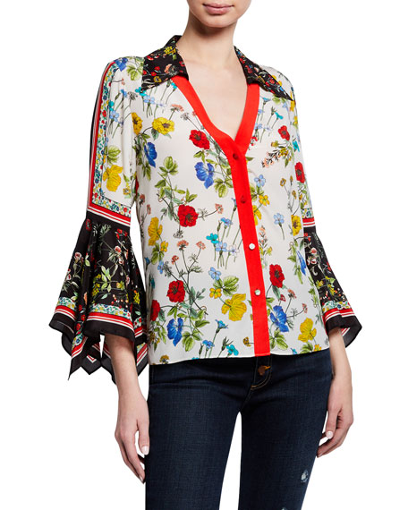 Alice + Olivia Randa Floral-Print Button-Down Trumpet-Sleeve Blouse