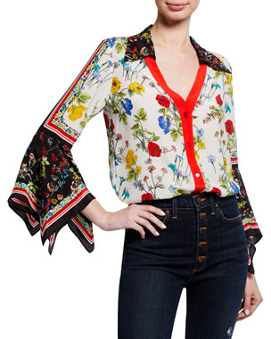 64f6142e Alice + Olivia Randa Floral-Print Button-Down Trumpet-Sleeve Blouse