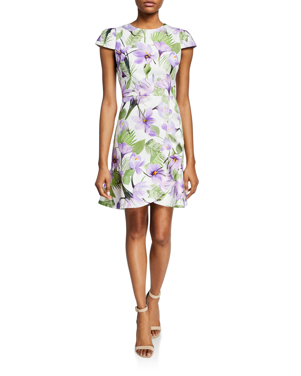 b50d99a27c1 Alice + Olivia Kirby Faux-Wrap Floral Flounce Dress