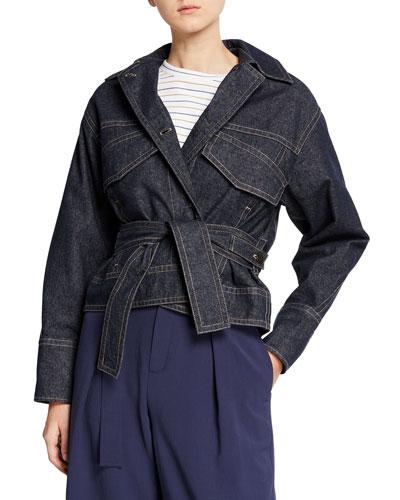 Belted Button-Front Denim Utility Jacket