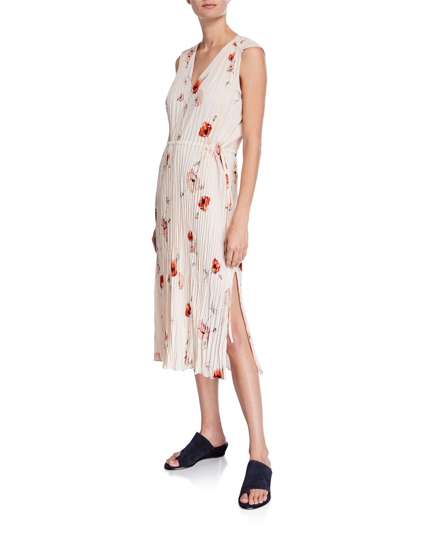 665102fee27 Vince Tossed Poppy V-Neck Pleated Dress | Neiman Marcus