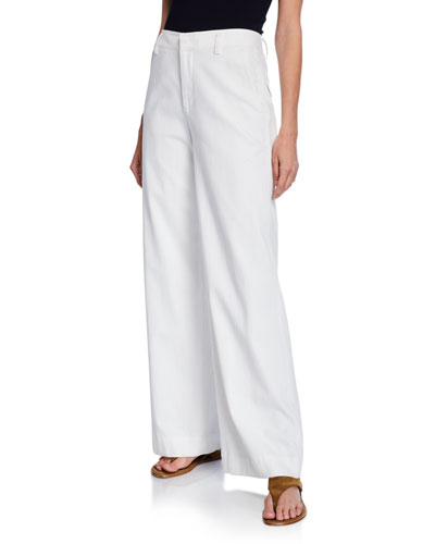 Market Wide-Leg Cotton-Linen Pants