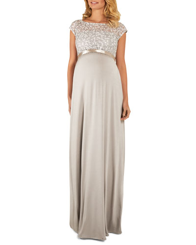 Maternity Mia Cap-Sleeve Gown with Sequin Bodice & Full-Length Skirt