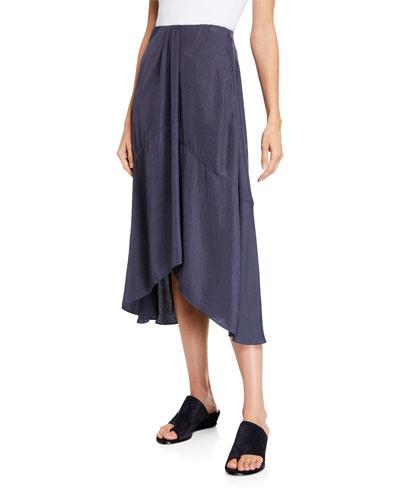 Twist Drape Midi Skirt with Pockets