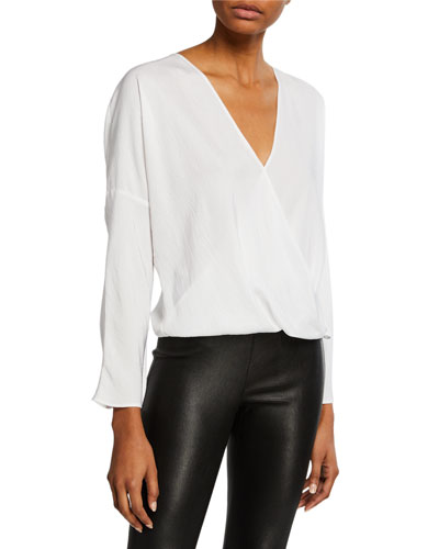 Cross-Front Long-Sleeve Blouse
