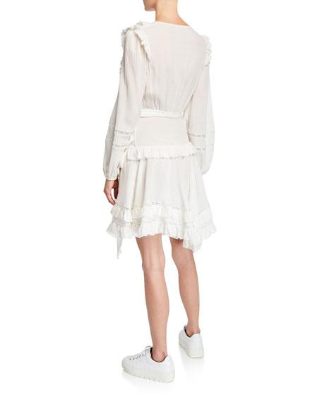 Zimmermann Moncur Frill Wrap Short Dress w/ Lace Trim