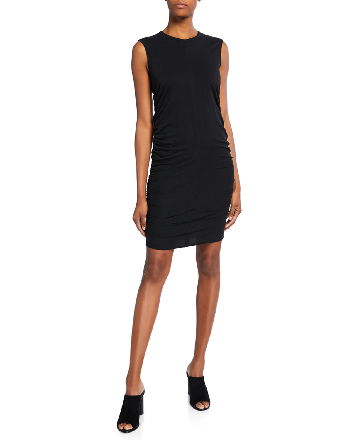 Majestic Filatures Crewneck Sleeveless Shirred Dress
